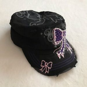 d8137d2d74d nyla district Accessories - Black Fitted Military Style Cap Rhinestone Bow